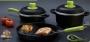 ollas ESSEN - Set Diseño Color Negro con tapa y mango verde manzana - Super oferta - Liquido