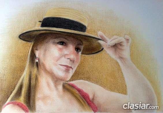 Retrato en colores con pasteles secos.