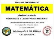 Clases particulares de matemática nivel universitario en bahía blanca