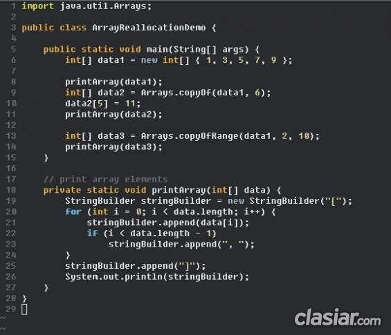 Clases de programación orientada a objetos java