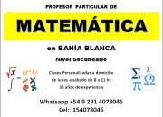 Matemática (nivel secundario) clases a domicilio en bahía blanca