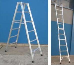 Escalera de aluminio - tijera y simple - 6 escalones x tramo