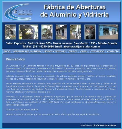 Jc cristales   fábrica de aberturas de aluminio y vidriería   monte grande   zona sur