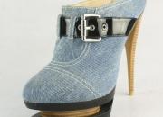 azul denim de alta talón sandalias para damas