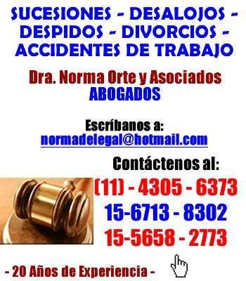 Estudio jurídico sucesiones,despidos, desalojos, divorcios, penal capital