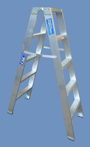 Escalera aluminio reforzada tijera doble acceso 5 escalones altura 1.50 mts