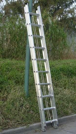 Escalera extensible aluminio reforzada altura 5.10 mts 20 escalones