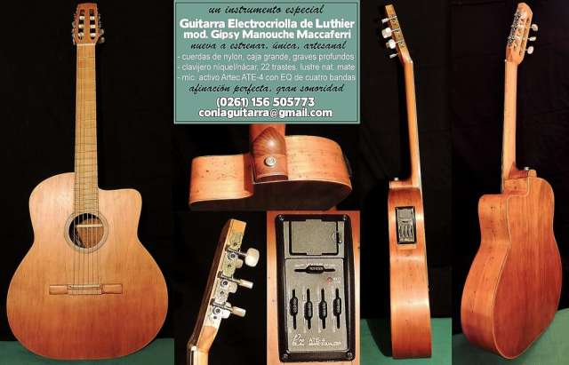 Guitarra electrocriolla de luthier (nueva)