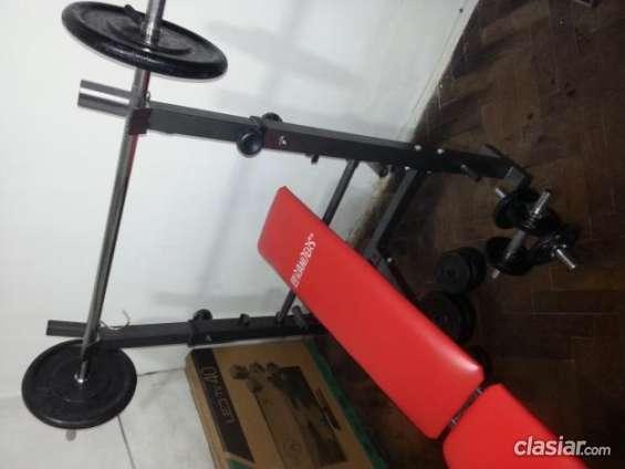 Apurado vendo maquina de ejercicios randers con 55kg barra mancuernas consultame sin cargo.