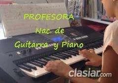 Se ofrece profesora de guitarra piano canto tit. nac. clases t/p extranjeros y discapacitados y a domicilio consultar.