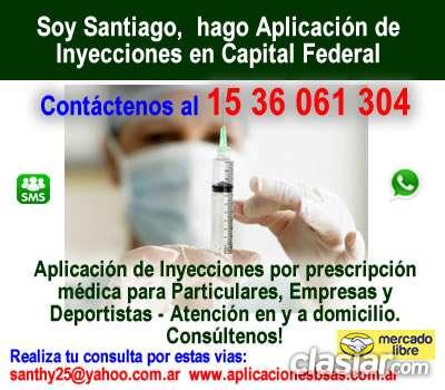 Aplicacion de inyecciones intramusculares - santiago zona microcentro telef 1536061304