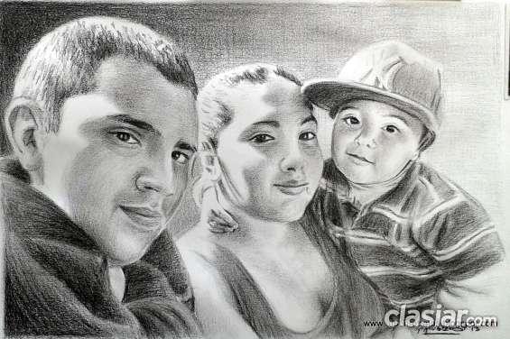 Retrato de varios rostros con lápiz carbón.