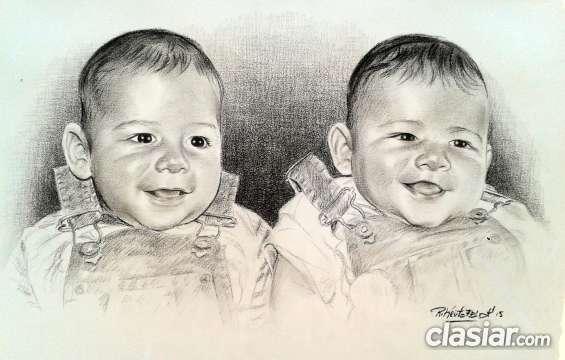 Retrato de dos rostros con lápiz carbón.