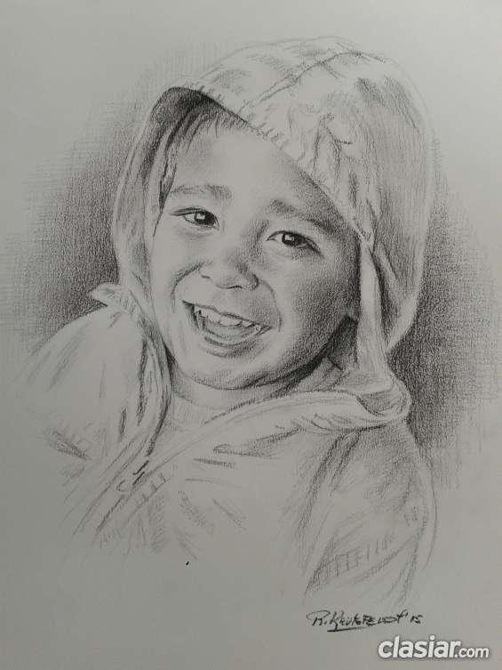 Retrato a lápiz carbón.
