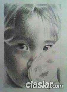 Fotos de Retrato de un rostro en mi primer plano, hecho con lápiz carbón.