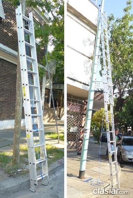 Escalera extensible aluminio reforzada 24 escalones altura extendida 6.30 mts